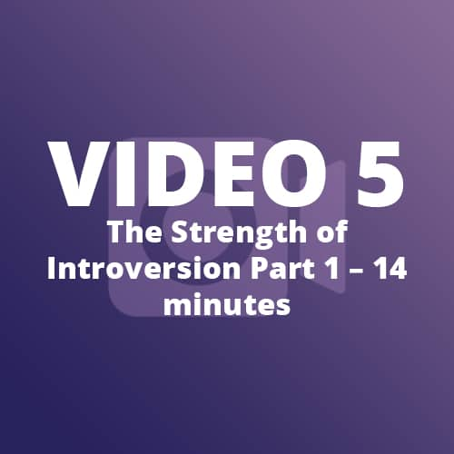 Video 5 - The Strength of Introversion Part 1 - 14 Minutes